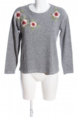 Betty & Co Sweatshirt hellgrau Blumenmuster Casual-Look