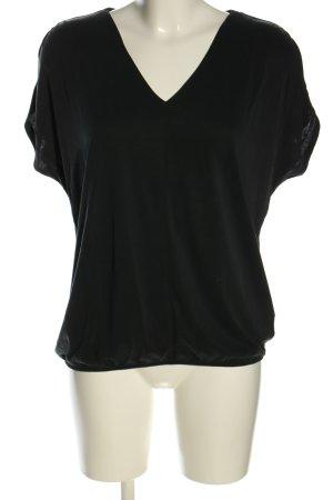 Betty & Co T-shirt czarny Wzór w paski W stylu casual