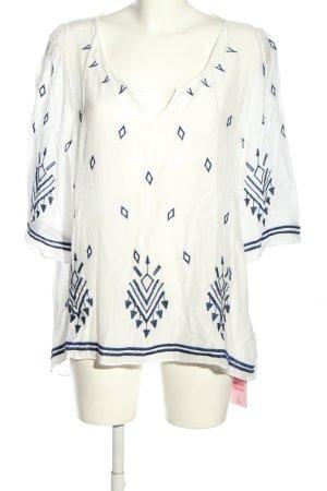 Betty & Co Bluzka tunika biały-niebieski Na całej powierzchni W stylu casual
