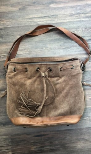 Pieces Pouch Bag light brown leather