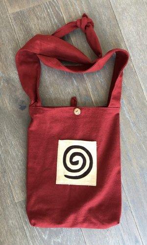 Beutel Tasche eckig 25x30,5 cm Baumwolle dunkelrot Spirale braun Frontfach