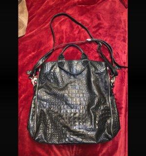 aus Italien Gekruiste tas zwart-zilver Leer