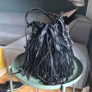 abro Fringed Bag black-silver-colored leather