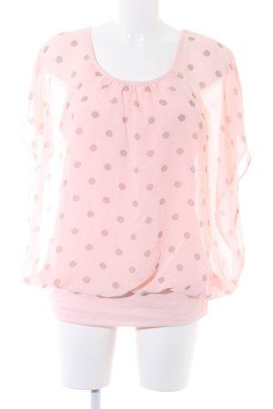 Bexleys Kurzarm-Bluse rosé-dunkelbraun Punktemuster Transparenz-Optik