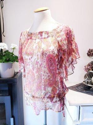 Bezaubernde Zara Basic Sommerbluse Pink Rot Orange Gr S reine Seide Seidenbluse Bluse