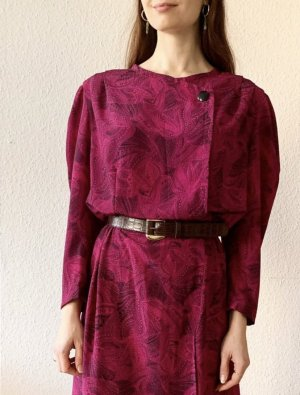 Vintage Midi Dress black-magenta