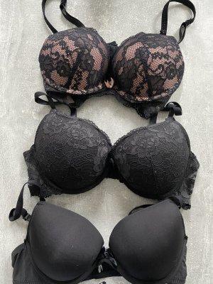 Beha zwart-stoffig roze