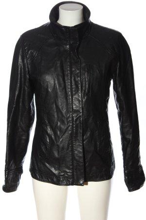 Biaggini Veste en cuir synthétique noir motif de courtepointe