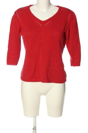 Biaggini Sweter z krótkim rękawem czerwony Warkoczowy wzór W stylu casual