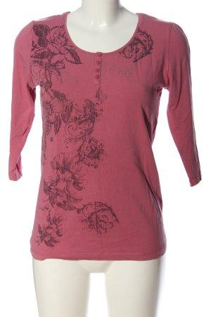 Biaggini Top à manches longues rose-noir motif de fleur style décontracté