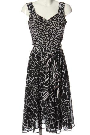 Biaggini Midi-jurk zwart-lichtgrijs abstract patroon casual uitstraling
