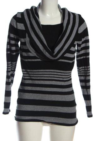 Biaggini Sweter z golfem czarny-jasnoszary Wzór w paski W stylu casual