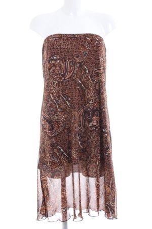 Biaggini schulterfreies Kleid braun abstraktes Muster Elegant