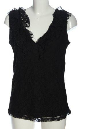 Biaggini Koronkowa bluzka czarny W stylu casual
