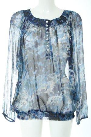 Biaggini Transparenz-Bluse blau-hellgrau Allover-Druck Casual-Look