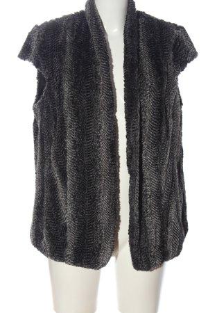 Bianca Fake Fur Vest black-light grey animal pattern casual look