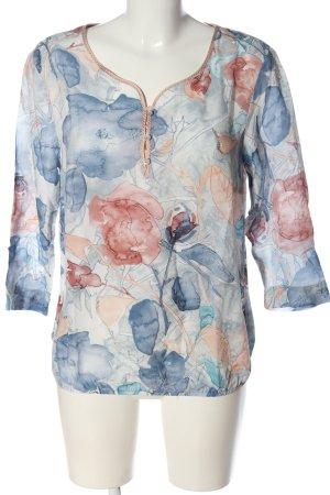 Bianca Blouse à enfiler bleu-rose imprimé allover style décontracté