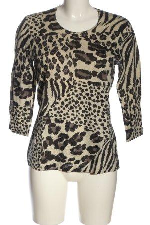 Bianca Strickshirt creme-schwarz Animalmuster Casual-Look