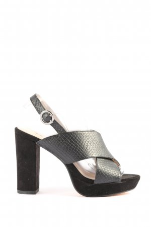 Bianco High Heel Sandal black-silver-colored allover print casual look