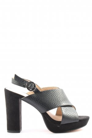 Bianco Peeptoe Pumps schwarz Animalmuster Casual-Look