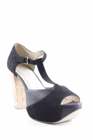 Bianco Plateau-Pumps schwarz-beige Casual-Look