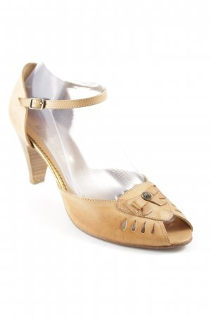 Bianco Strapped High-Heeled Sandals nude ethnic pattern retro look
