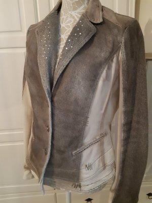 BIBA Blazer - Street-Fashion-Look, Used-Optik, beige/ grau
