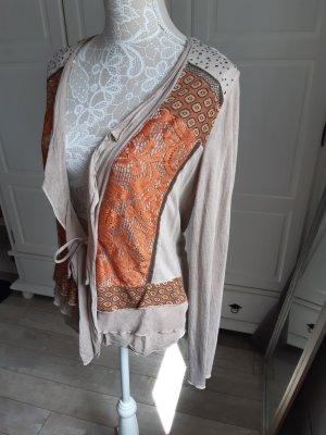 Biba  Blusenjäckchen mit hübschem Mustermix, vorne offen, beige/orange, 38