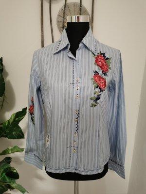 Biba Damen Bluse Hemdbluse bestickt Rosen blau gestreift Größe 38