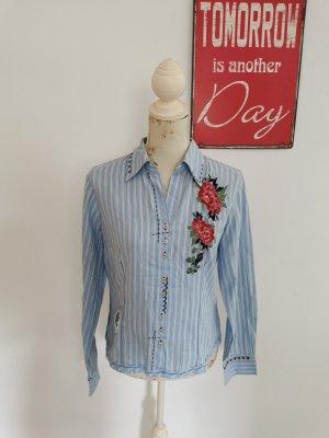 Biba Shirt Blouse sage green-baby blue cotton