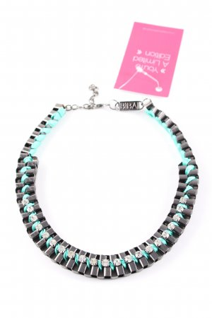 Biba Collar color plata-turquesa look casual