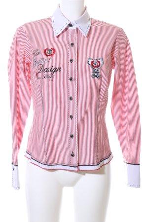 Biba Hemd-Bluse rot-weiß Schriftzug gestickt Business-Look
