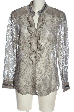 Biba Camicia blusa grigio chiaro stampa integrale elegante