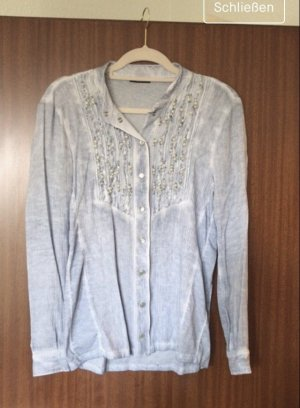BIBA Hemd Bluse Perlen hellblau Gr. S