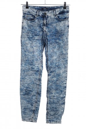 Biba High-Waist Hose blau abstraktes Muster Casual-Look