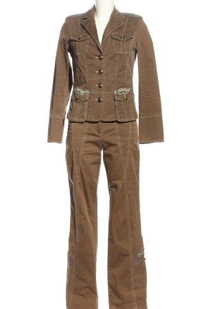 Biba Tailleur-pantalon brun-blanc cassé style d'affaires