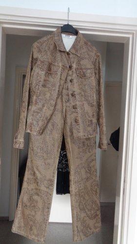 Biba Tailleur pantalone marrone chiaro-marrone-grigio Cotone