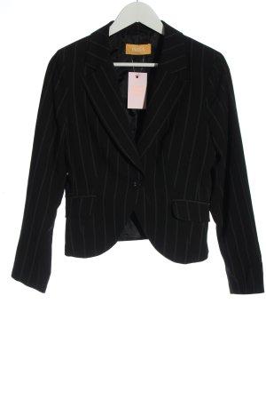 Biba Korte blazer zwart gestreept patroon zakelijke stijl