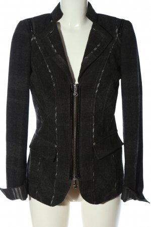 Biba Korte blazer zwart-lichtgrijs gestippeld elegant