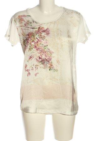 Biba Blouse à manches courtes crème-rose motif de fleur style décontracté