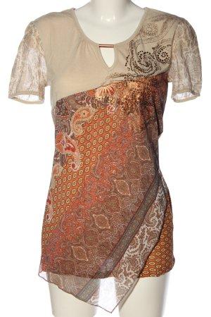 Biba Blouse à manches courtes blanc cassé-orange clair Mélange de motifs