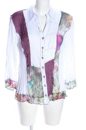 Biba Langarm-Bluse weiß-pink Blumenmuster Business-Look