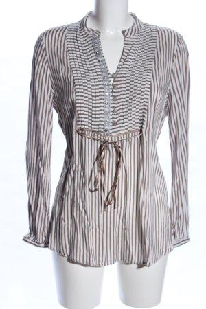 Biba Langarm-Bluse braun-weiß Streifenmuster Casual-Look