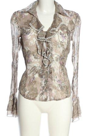 Biba Long Sleeve Blouse cream-brown allover print casual look