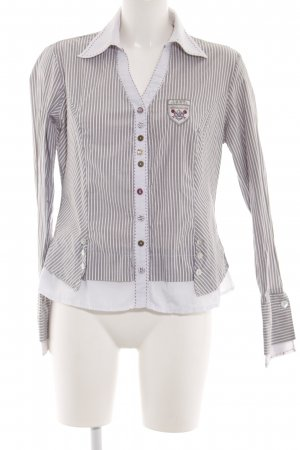 Biba Long Sleeve Shirt light grey-white striped pattern business style
