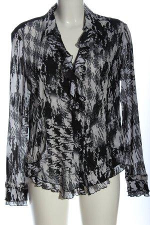 Biba Camicia a maniche lunghe nero-bianco motivo astratto stile professionale