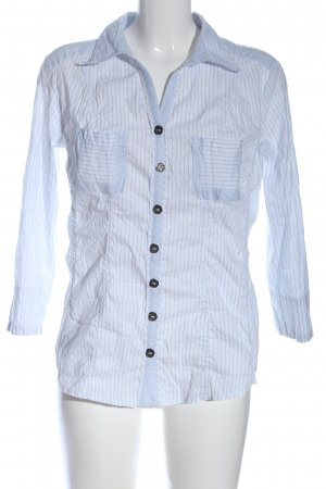 Biba Langarmhemd weiß-blau Streifenmuster Casual-Look