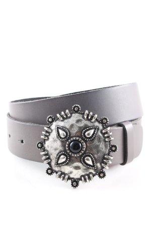 Biba Lederen riem lichtgrijs-zilver casual uitstraling