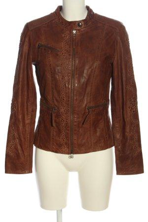 Biba Veste en cuir brun style décontracté