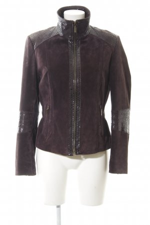 Biba Leather Jacket brown violet casual look